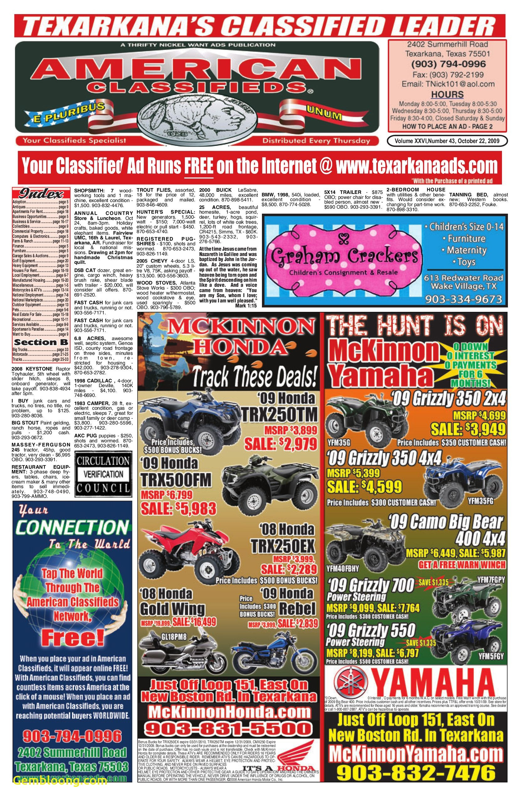 Carfax Sign Up Free Elegant Texarkana American Classifieds 10 22 09 by American