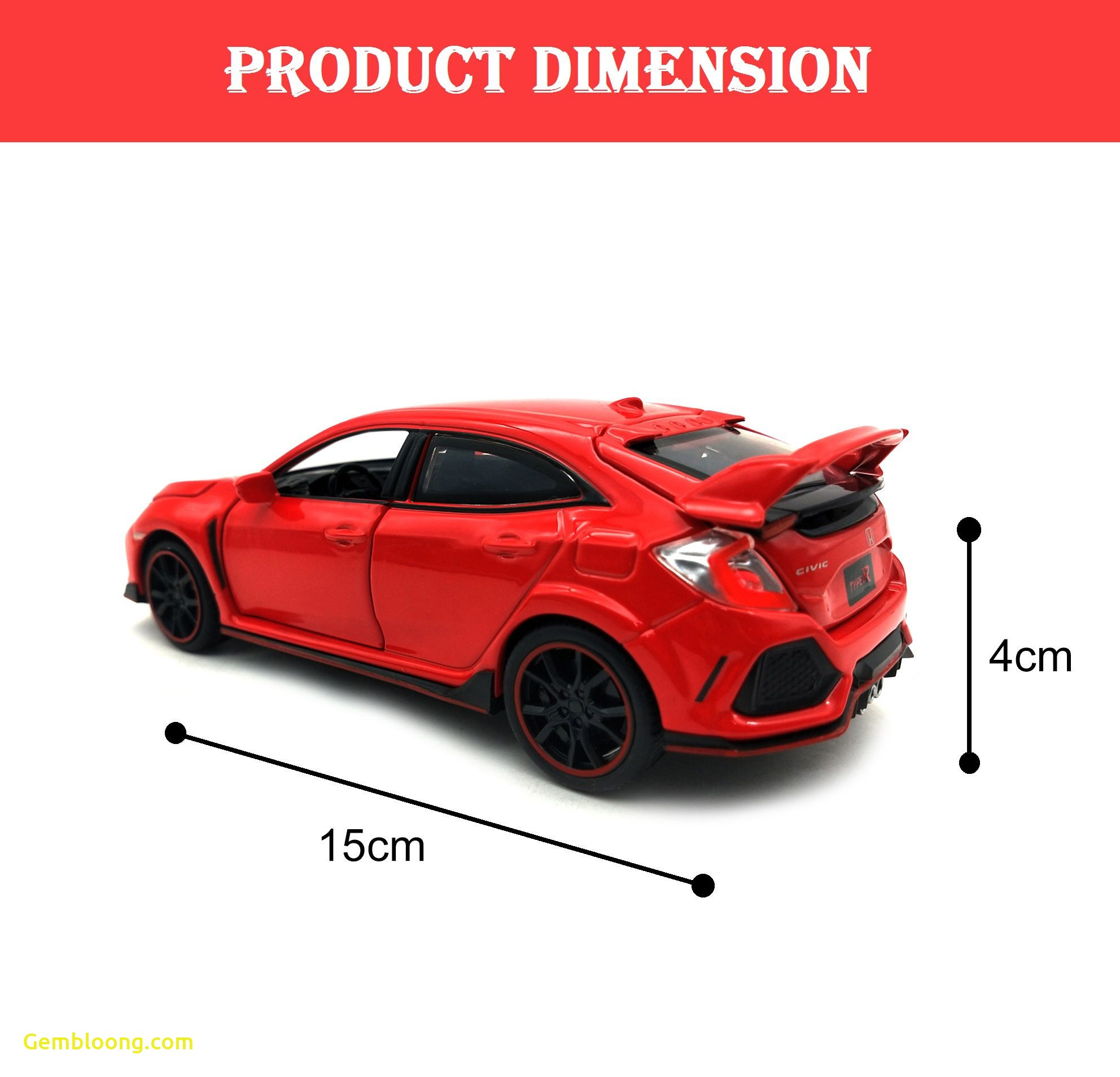 Cars for Sale Near Me Mini Fresh Mini Auto Red 1 32 Scale Diecast Metal Honda Civic Type R Model Pull Back Car toy with Openable Doors Light and sound Red