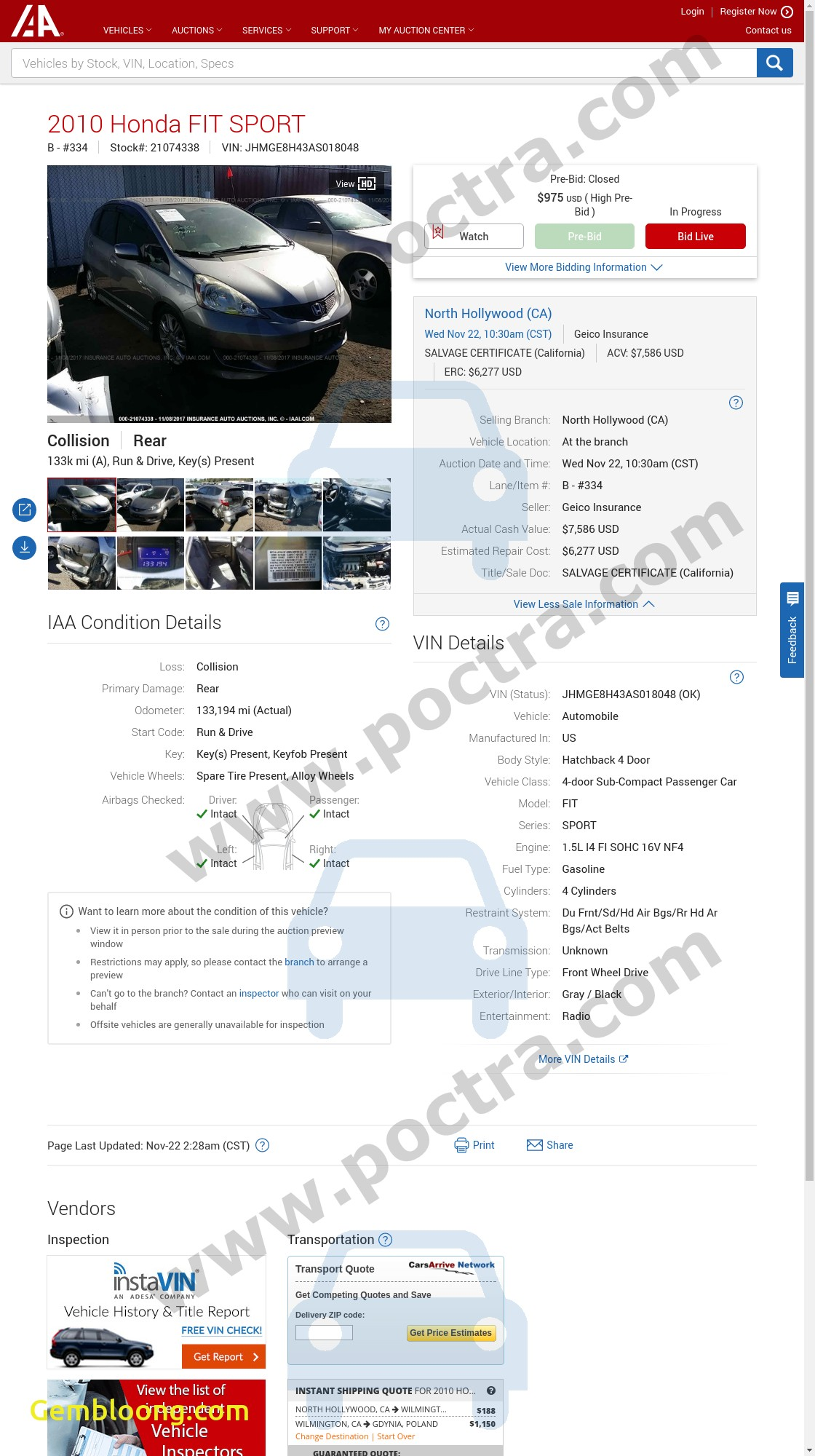 Free Vehicle History Report Luxury Jhmge8h43as 2010 Honda Fit Sport Price Poctra