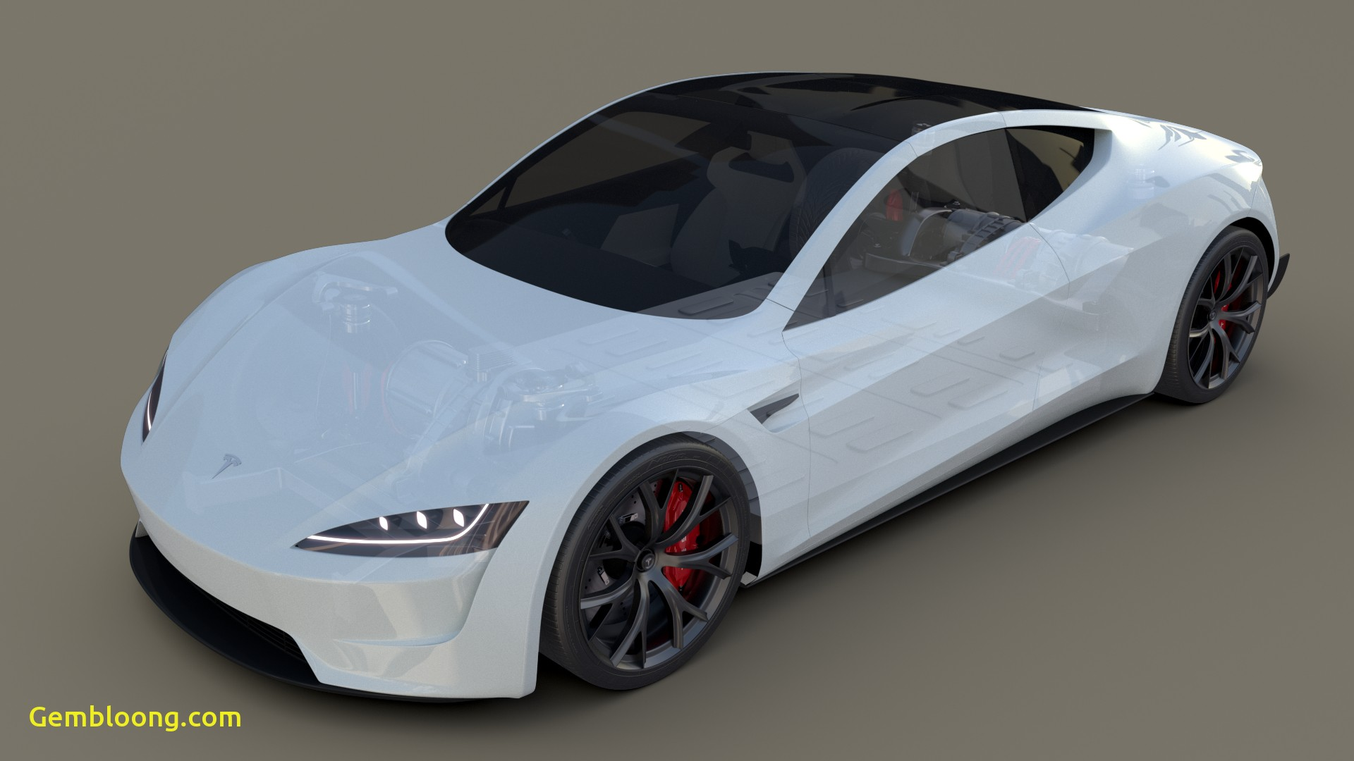 Tesla 2020 Unique Tesla Roadster 2020 White with Interior and Chassis