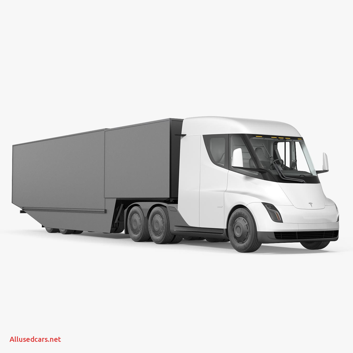 Tesla Truck Awesome Electric Semi Truck Tesla with Trailer Simple Interior 3d