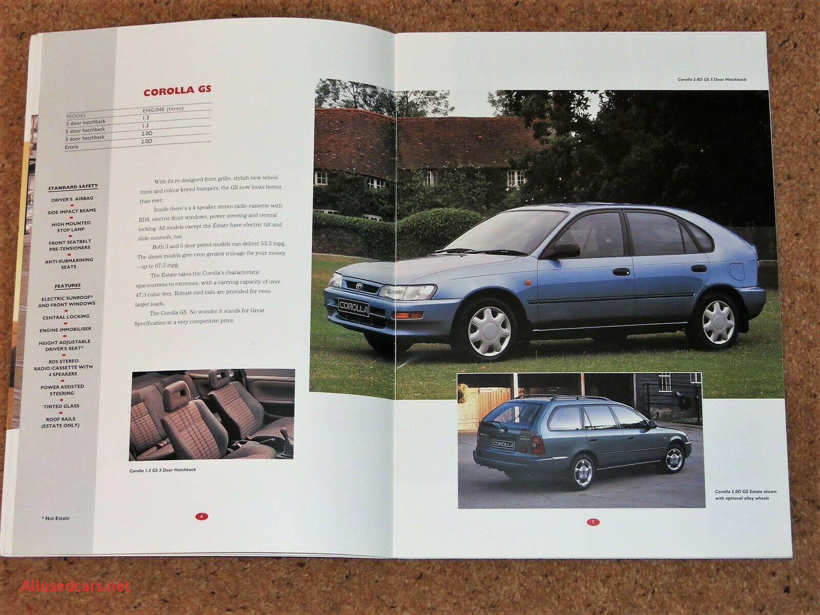 Toyota Corolla Sport Lovely 1995 96 toyota Corolla Sales Brochure Sportif Gs Cd Si Cdx 3dr 4dr 5dr Estate