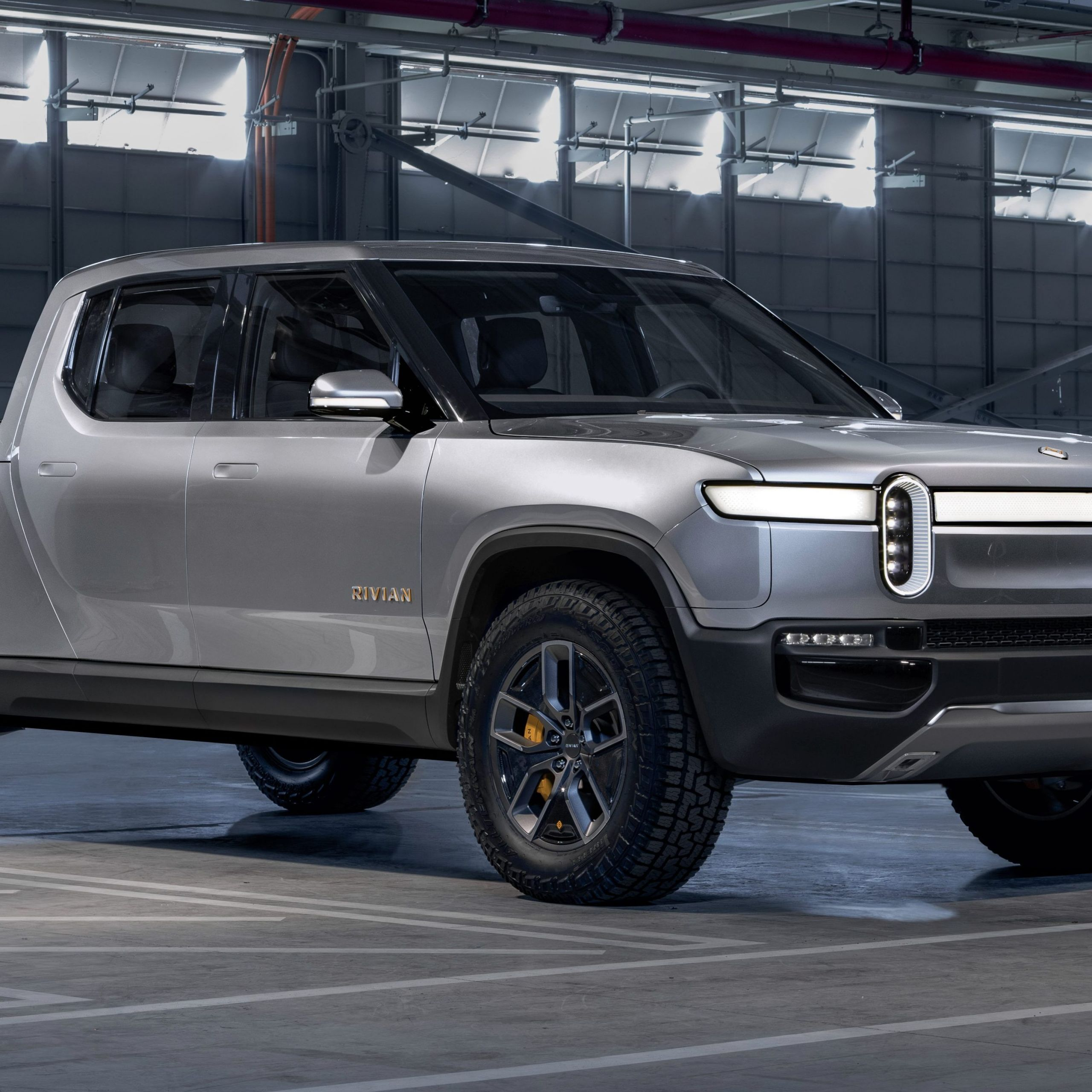 a rivian r1t front view