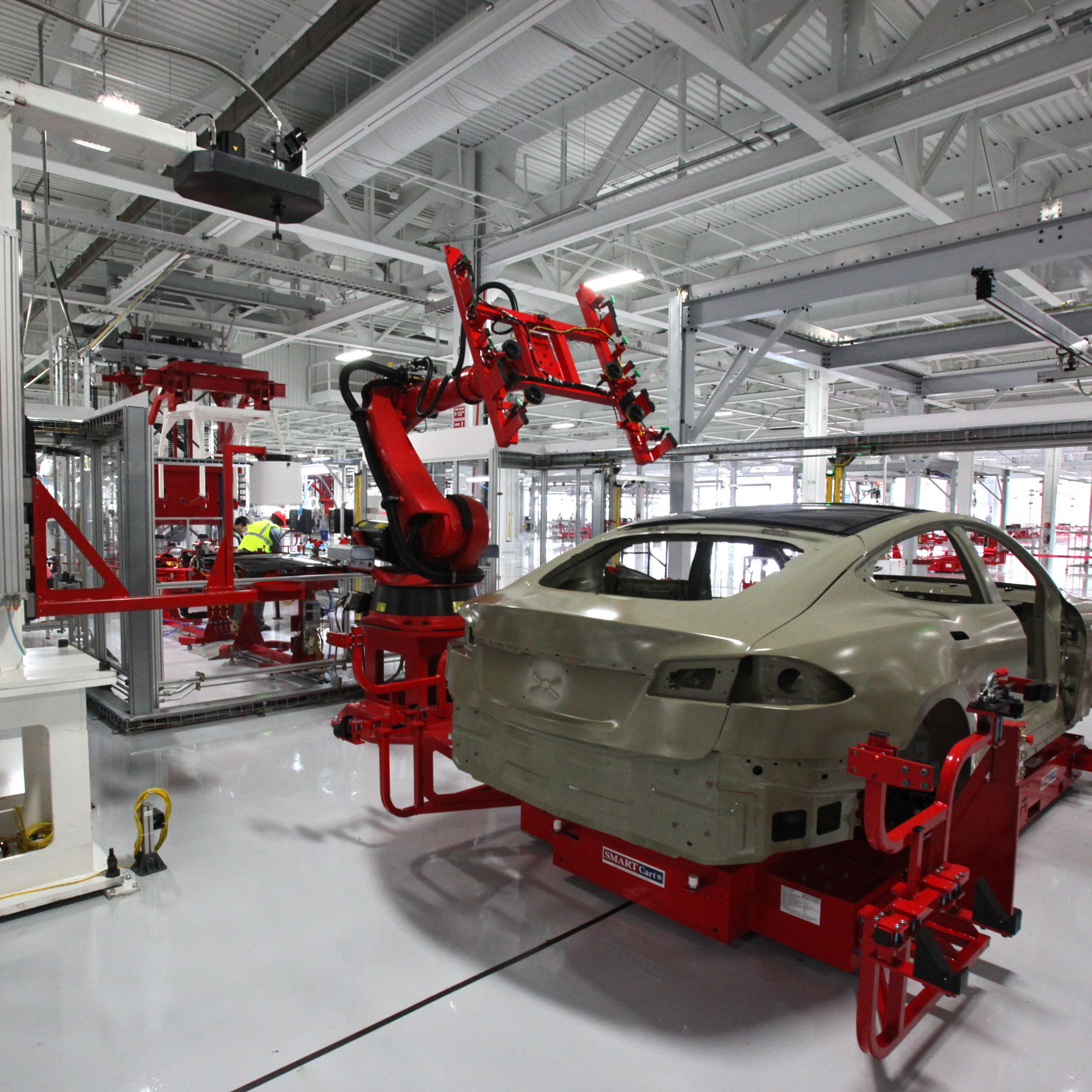 a model s under construction