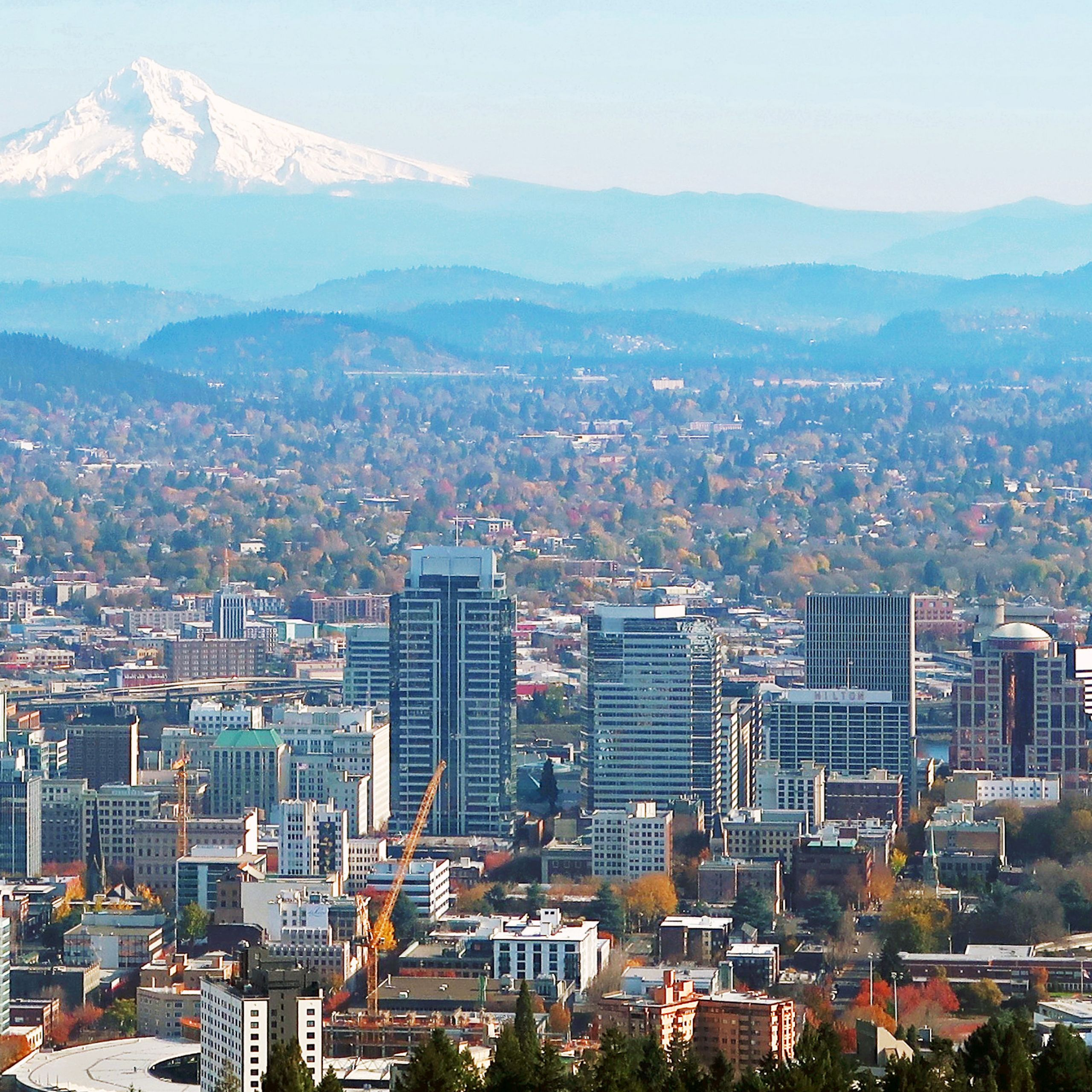 Portland and Mt Hood from Pittock Mansion