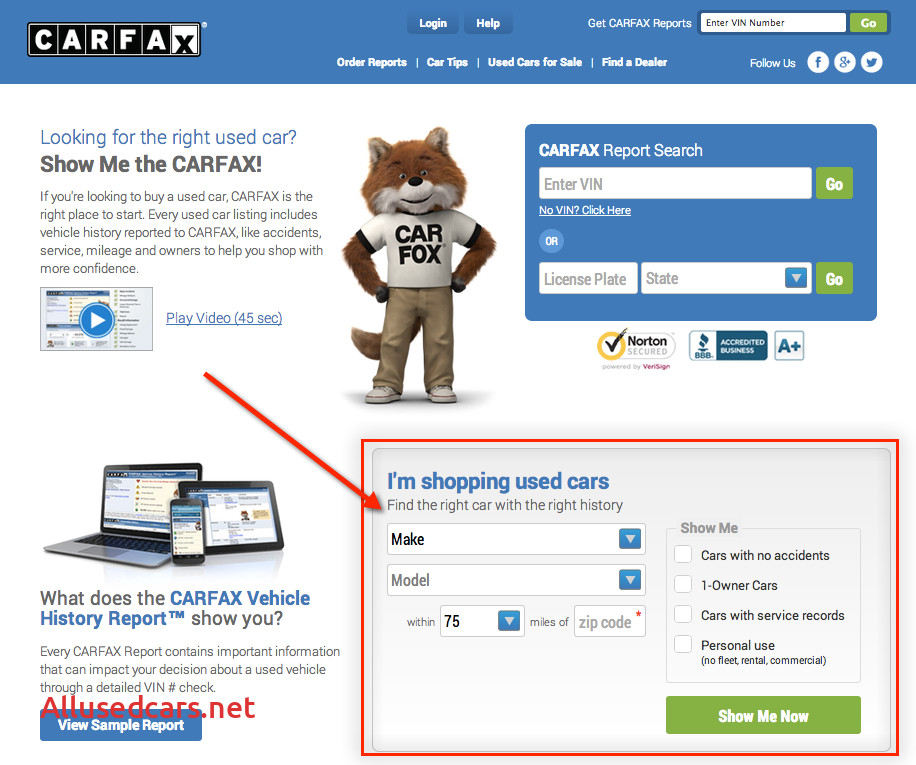 carfax used car search listing dealers