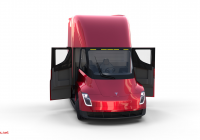 Tesla Diecast New Tesla Semi Truck with Interior and Trailer Red Ad Truck